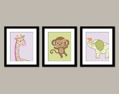 This adorable set of three prints includes a giraffe, monkey and elephant. Goes great with the Carters Jungle Jill crib set. Can be customized with