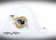 Rare Astrophyllite Pendant Necklace in Fine Silver & GF w/ Faceted Citrine Fantasy Wire, Wire Weaving, Nature Inspired, Wire Wrapped Jewelry, Shopping Mall, Handcrafted Jewelry, Renaissance, Glass Beads, Fairy
