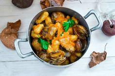 Gnocchi di patate con mandorle di mare crema di zucca e porcini