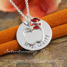 Hand Stamped Necklace - Personalized Teacher Jewelry - Sterling Silver Teacher Necklace