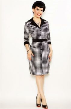 Houndstooth Pin Up Style Heartbreaker Fashion Dress at Retro Vixens