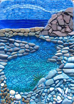 ROCKPOOL Applied to a concrete slab with a hanger at the back This is a mixture of pebbles, slate, iridised stained glass, shell and the water is shattered tempered glass with an acrylic wash behind it. 32 x 20 cm x Pebble Mosaic, Stone Mosaic, Pebble Art, Mosaic Art, Mosaic Glass, Mosaic Tiles, Rock Mosaic, Mosaic Mirrors, Tiling
