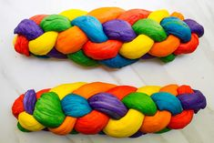 This Rainbow Challah recipe is perfect for Gay Pride or happy themed parties! Plus, step-by-step instructions on how to braid a challah. Challah French Toast, Purple Hands, Gel Food Coloring, Food Scale, Jewish Recipes, Blow Your Mind, Gay Pride, Rainbow Colors, Party Themes