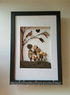 Family pebble art, Family of five art, personalized family gift art, Family housewarming gift, family anniversary gift by madebynatureandme on Etsy