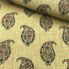 Jessamy - Indigo Rust, Prints, Ian Sanderson Upholstery and Curtain Fabrics Paisley Fabric, Paisley Print, Paisley Wallpaper, Sanderson Fabric, Stripes Texture, Couture Embroidery, Curtains With Blinds, Printed Linen, Curtain Fabric