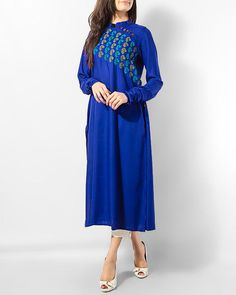Azure Pakistani Long Kurtis, Casual Chic, Ethnic, Cold Shoulder Dress, Dresses With Sleeves, Long Sleeve, How To Wear, Stuff To Buy, Outfits