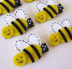Felt Bee Hair Clip  A cute yellow black by MasterpiecesOfFunArt, $3.25