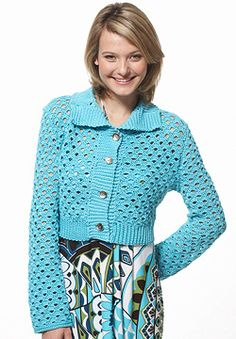Free Crochet Pattern: Patons Grace - Scallop Mesh Jacket