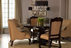 I love the idea of all the dining room seating being big comfy chairs or love seats