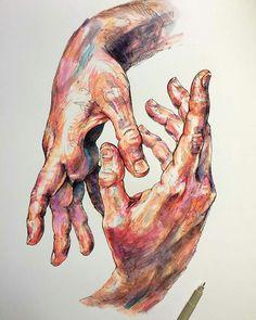 As linhas, a cor, os highlights, a posição das mãos. Tarefa.1