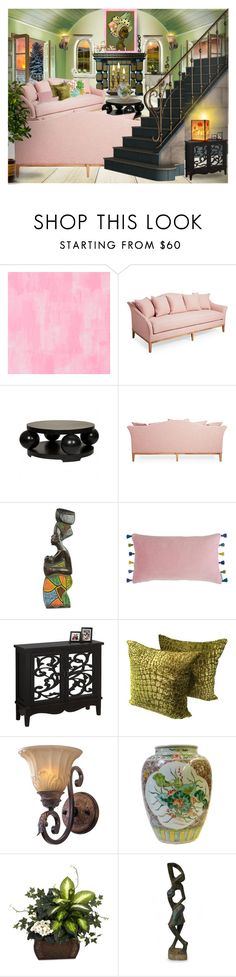 """""""Green & Blush partnership"""" by amara-m-hafeez ❤ liked on Polyvore featuring interior, interiors, interior design, home, home decor, interior decorating, Designers Guild, Hooker Furniture, NOVICA and Bluebellgray"""