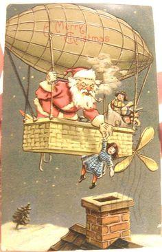 ANTIQUE 1909 EMBOSSED XMAS POSTCARD SANTA CLAUS DIRIGIBLE BLIMP HOT AIR BALLOON #Christmas