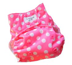 Pink White Dots PUL One Size Pocket Cloth Diaper with Bamboo Microfiber insert
