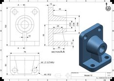 CAD Tutorials for Beginners - 10 Autocad Isometric Drawing, Cad 3d, Cad Programs, Drawing Exercises, 3d Drawings, Drawing Practice, Mechanical Engineering, Technical Drawing, Cnc