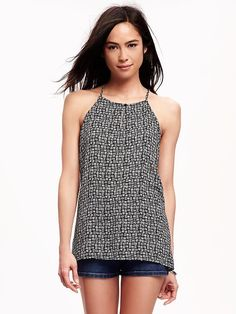 Patterned High-Neck Trapeze Tank for Women Product Image