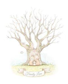 Children's illustration rabbits on tree Family Illustration, Cute Illustration, Album Baby, Fingerprint Tree, Family Wall Art, Bunny Art, Kids Artwork, Nursery Art, Cute Drawings