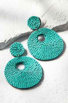 Seed Bead Circled Earrings - Tropical Sea Earrings | Soft Surroundings -Seed beads in the soothing color of a tropical sea are handwoven with delicate wire on a small and a large disc. The larger has an off-center donut hole for unexpected symmetry. Turquoise. #stylish #jewelry #shopping #fashionstyle #fashionista #earrings #trendy #accessories #beautiful #accessory #jewelrygram #fashionjewelry #earringfashion #earringswag #earringlove #instajewelry #turquoise #jewellery #love #statementjewelry