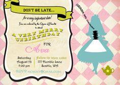 Vintage Alice - Alice in Wonderland Inspired - Invitation - printable. $12.00, via Etsy.