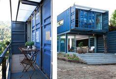 Alla ricerca di materiali non convenzionali per costruire una casa confortevole ed esteticamente gradevole? Costruita usando quattro container: Casa El Tiamblo.