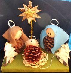 kerststal met denappels