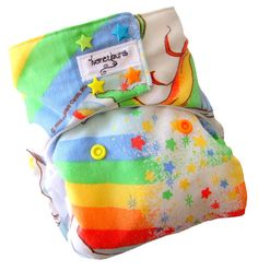Rainbow Brite One Size Cloth Diaper with PUL Star Snaps - Newborn Toddler Girls - Made to Order