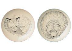 enchanting set of 2 ceramic plates