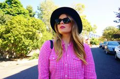 Blush & Bordeaux - Top To Toe. Hollister Co. shirt, Wrangler jeans, J. Crew loafers, Coach bag, Ray Ban sunglasses, ASOS hat