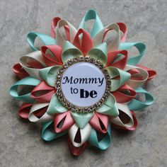Gender Reveal Ideas, Gender Neutral Baby Shower Corsages, Coral, Gold, Mint, Aqua Baby Shower Decorations, Mommy to Be Pin, New Mom Gift by PetalPerceptions on Etsy