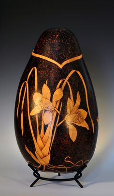 Orchids, Pyrography, Wood Burned Gourd