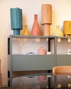 Pontile is a new modular shelving system designed by for and it matches perfectly with colorful vases and new tiles! Modular Shelving, Loewe, Vases, Shelves, Colorful, Living Room, Design, Home Decor, Shelving