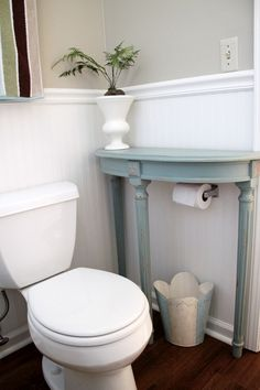 Perfect small side table for the small bath