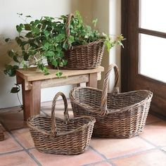 Willow Baskets - Oval SM to lG - Set of Baskets and willow weaving techniques have been around for centuries. Each heirloom quality basket is meticulously handcrafted using these age old techniques to create nostalgic, timeless, classic and Wicker Picnic Basket, Rattan Basket, Country Farmhouse Decor, Rustic Decor, Basket Decoration, Room Accessories, Diy Home Decor, Organization Ideas, French Country