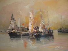 "Saatchi Art Artist Andres Vivo; Painting, ""Sailingships and sun   Ref. 4028"" #art"