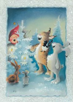 by Kaarina Toivanen Christmas Tale, Christmas Carol, Christmas Greetings, Christmas Crafts, Christmas Clipart, Vintage Christmas Cards, Xmas Cards, Winter Clipart, Christmas Illustration