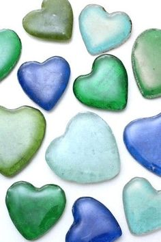 Recycled Glass Hearts Our Fair Trade Glass Hearts are an eco-friendly way to tell somebody you love them. Handmade in rural Ghana out of recycled beer, soda and antacid bottles. Beautiful shades of blues and greens.