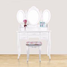 SEA230 - Masă de toaletă cu scaun floral - http://www.emobili.ro/cumpara/sea230-set-masa-alba-toaleta-cosmetica-machiaj-oglinda-masuta-makeup-988 #eMobili