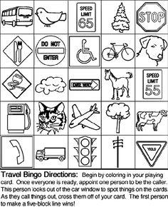 Travel Bingo 2 coloring page Dry Erase Quiet Binder Pinterest