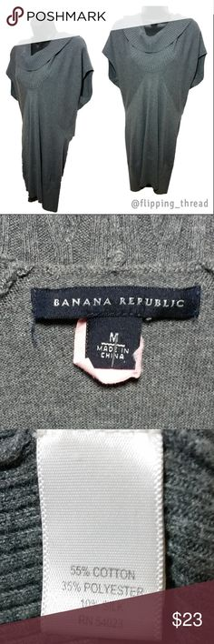 Banana Republic Gray Sweater Tunic Dress - Size M Banana Republic Gray Sweater Tunic Dress - Size M  Excellent Condition, gently used.  55% Cotton 35%Polyester, 10% Silk. Machine wash cold. RN # 54023, s/673684, SS RIB CWL DRS, 303147, 09/FALL  Measurements:  Bust: 35 in. Shoulders: 17.5 in. Waist: 30 in. Hips: 30 in. Length: 19 in.  Measurements provided in inches. Length for tops/dresses from the armpit unless otherwise noted. All of my items are measured in unstretched state.   Fast…