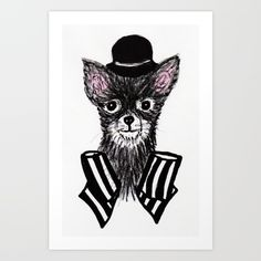 "Gallery quality Giclée print on natural white, matte, ultra smooth, 100% cotton rag, acid and lignin free archival paper using Epson K3 archival inks. Custom trimmed with 1"" border for framing.<br/> <br/> <br/> Illustration of a chihuahua wearing a black bowler hat and a striped bow on his neck. :)"