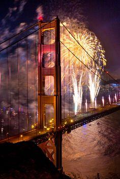 Golden Gate Bridge North Tower 75th Anniversary Fireworks, California