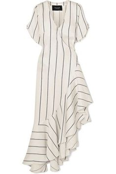 PAPER London - Asymmetric striped linen-blend wrap dress - - PAPER London – Asymmetric Striped Linen-blend Wrap Dress – Ivory Source by netaporter Tee Dress, Belted Dress, Striped Linen, Striped Dress, Elegant Dresses, Ivory Dresses, Casual Dresses, Boho Dress, Dresses Online