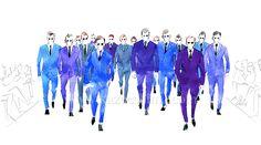 Men's Fashion illustration by Kazue Shima. Finale of runway, with suits. (Material: water color, pencil, photoshop) http://www.kazueshima.com/english/mens-fashion/1024.html