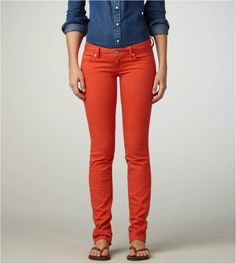 poppy orange skinny jean. i am personally a huge fan of this particular shade of orange, almost a rust color.