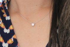 Tiny CZ diamond necklace, layered necklace, choker, dainty necklace, delicate necklace, silver necklace, bridesmaid gift, solitaire necklace