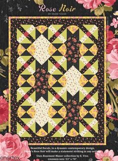 Benartex E Vive Rosemont Rose Noir Quilt Kit 53x70.  Wow, fun use of curved block. I can try out my new Curve Master foot.