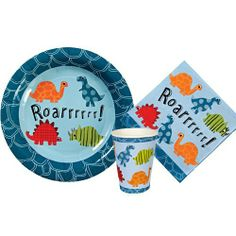 """Small Meri Meri Roarrrrr! Party Kit by Meri Meri. $12.95. Includes 16 small napkins. 12 plates each 7"""" in diameter. 12 cups each with a 9 ounce capacity. Every party supply you need for a dinosaur themed party. Your party guests will be stomping around with excitement at the site of these party favors. This kit includes items from the popular Roarrrrrr! Dinosaur line by Meri Meri. This kit includes paper cups, napkins and plates suitable to serve up to 12 guests"""