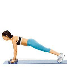 Renegade row (part 2): Brace abs as you push right dumbbell into floor and pull left one up until your elbow passes your torso. Hold 2 seconds, then lower dumbbell and repeat with right arm. Continue alternating sides until you've completed 6 reps with each arm. Tip Don't rotate hips or arch your back when you pull