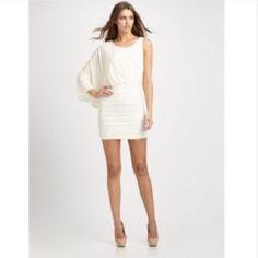 BCBG Venus Dress Off-white jersey dress. Very flattering. BCBGMaxAzria Dresses Mini