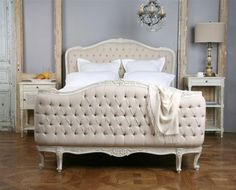 Eloquence Sophia Upholstered Tufted Bed Old Cream - The Eloquence collection of antique reproduction furnishings reflects the Old World glamour of classic French and European design. The antique reproduction Louis XV Sophia Bed is beautifully hand finished and tufted in a fog linen.