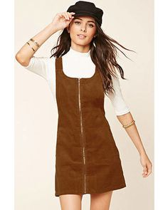 A corduroy overall dress with an exposed zippered front, slanted front pockets, . - A corduroy overall dress with an exposed zippered front, slanted front pockets, and hidden buttoned straps. Dress Outfits, Fall Outfits, Casual Outfits, Cute Outfits, Fashion Outfits, Dresses, Fashion Fashion, Fashion Ideas, Vintage Fashion